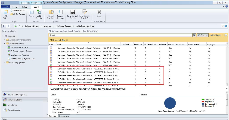 SCCM 2012 SP2/R2 SP1] System Center Endpoint Protection et Windows