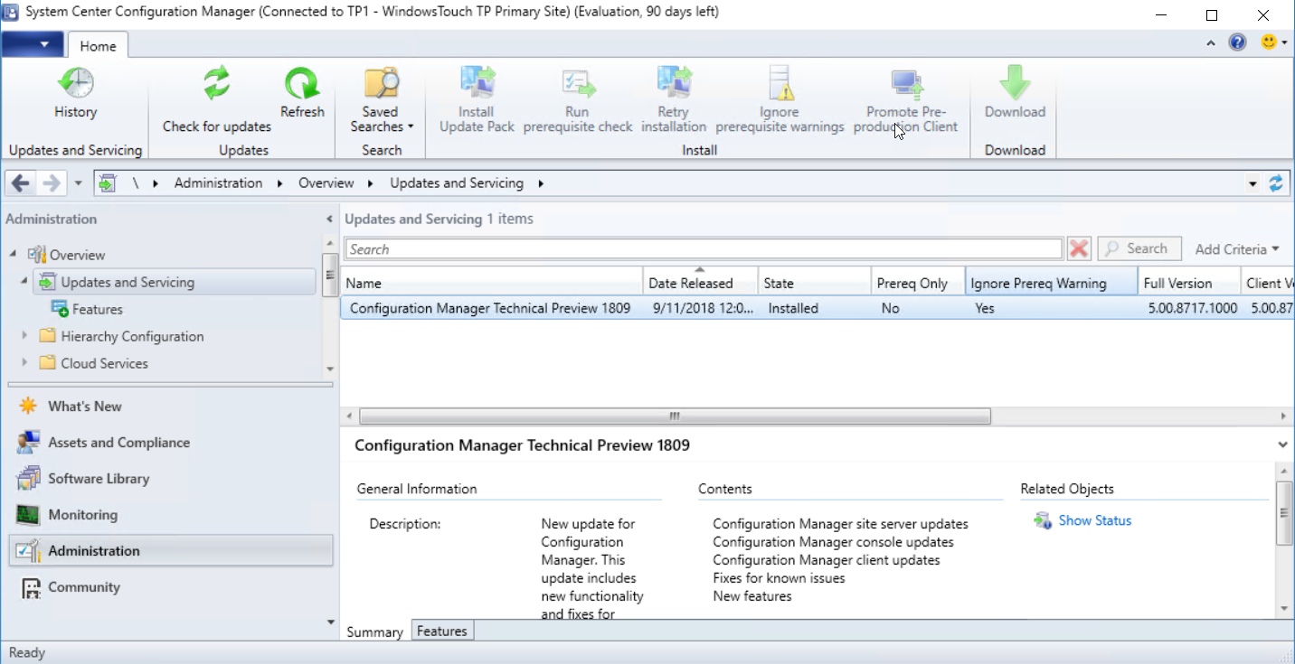 SCCM] La Technical Preview 1809 de System Center